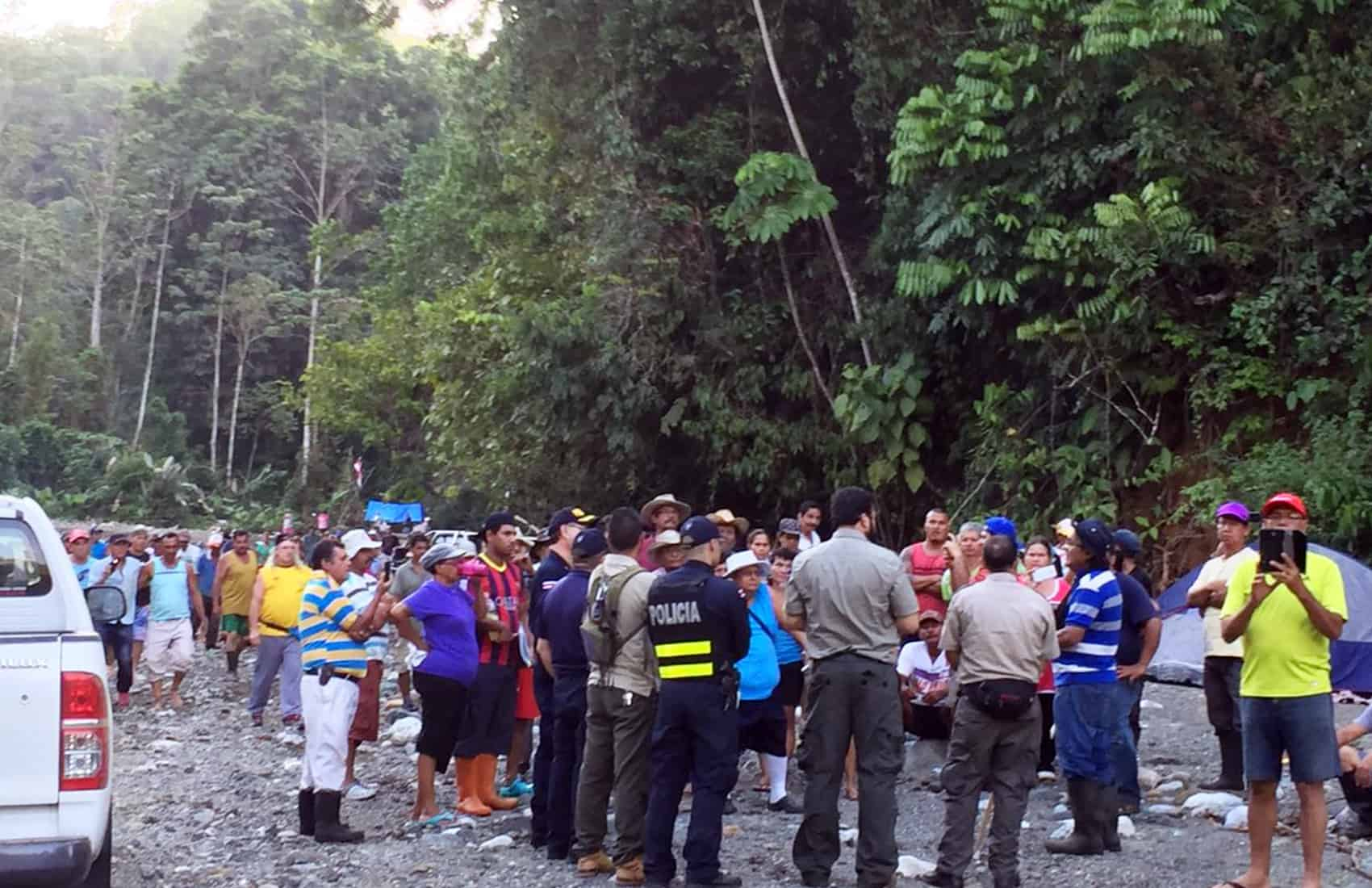 Gold miners demonstration at Costa Rica's Corcovado National Park. Feb. 20, 2017.