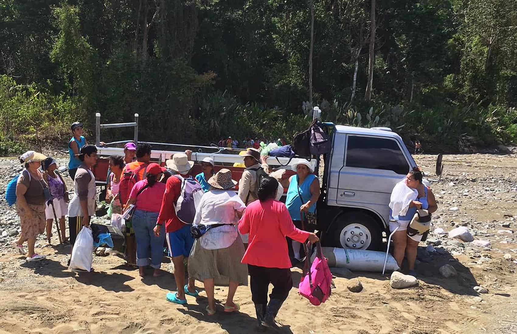 Former gold miners protest at Corcovado. Feb. 21, 2017.