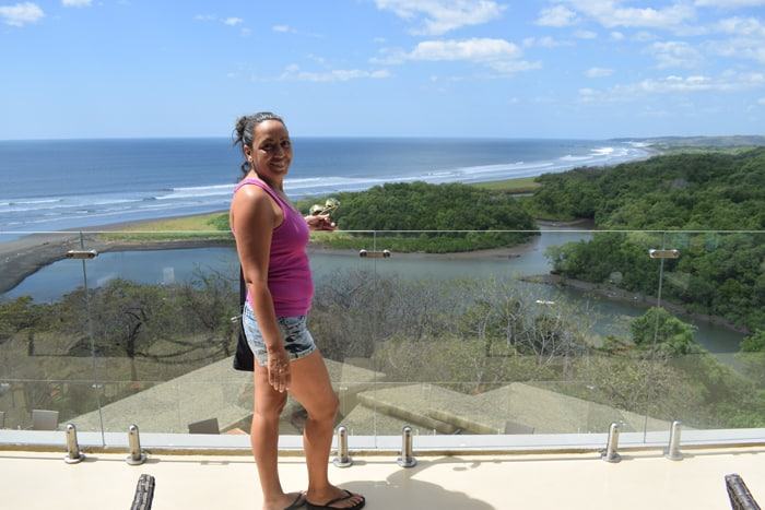 Guiselle at an overlook at the Lagarta Lodge.