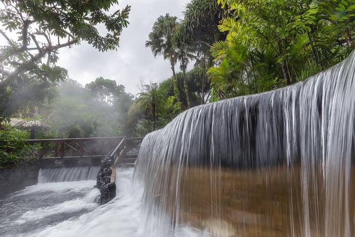 A hot waterfall at Tabacón.