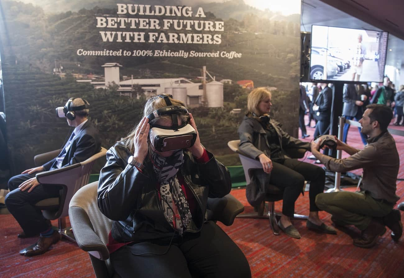 Shareholders in Seattle take a virtual reality tour of Starbucks' Costa Rica farm.