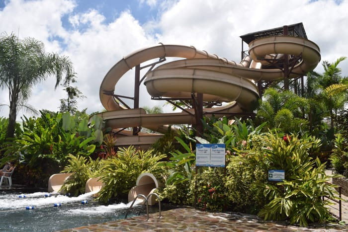 Take your pick: Three waterslides at Kalambu Hot Springs Water Park.