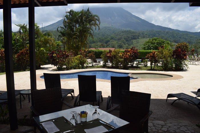 View of Arenal from the pool bar at Kioro.