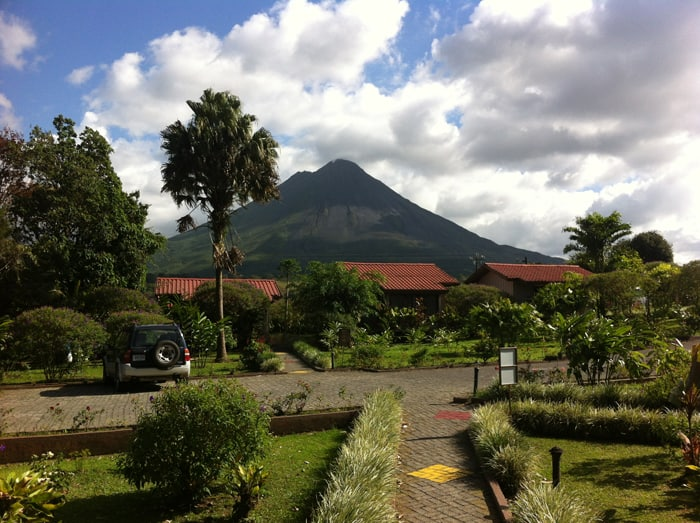 "Nice view of Arenal ""despejado,"" clear of clouds, from our room at Montaña de Fuego."