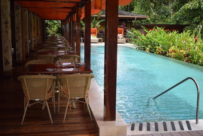 Pool and restaurant at Nayara.