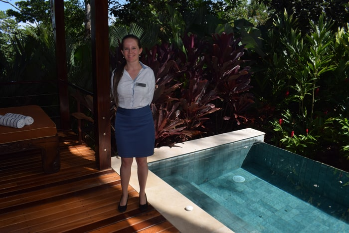 Guest relations manager Maricela Durán, our cheerful guide, on the patio of a villa at Nayara Springs, with private hot tub heated by Mother Earth.