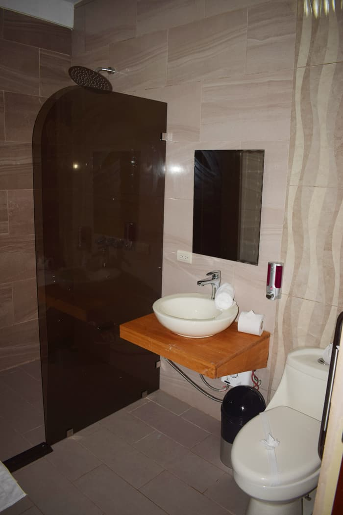 Newly remodeled bathroom at Downtown Inn.