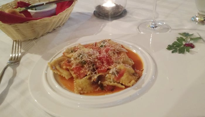 Homemade spinach and cheese ravioli at La Forchetta.