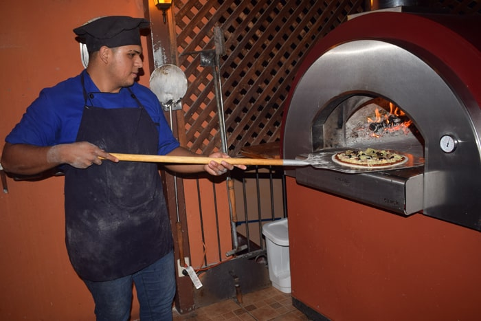 Making pizza at Café Mediterraneo.