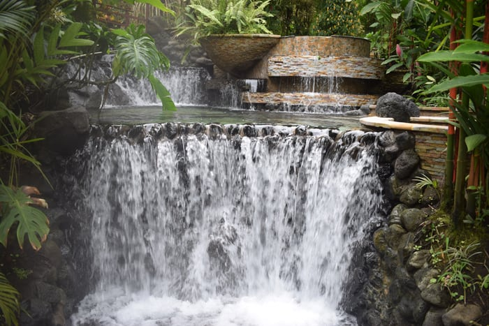 One of many waterfalls at Tabacón.