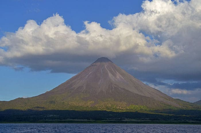 Arenal Volcano viewed from the lake of the same name.
