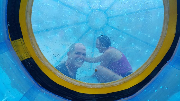 Yes, we are inside a giant blue sphere and we're wet and we're laughing.