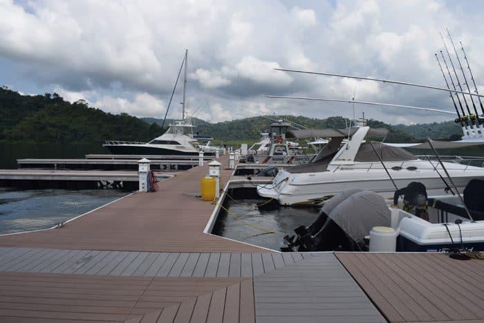 Yachts docked at the new marina.