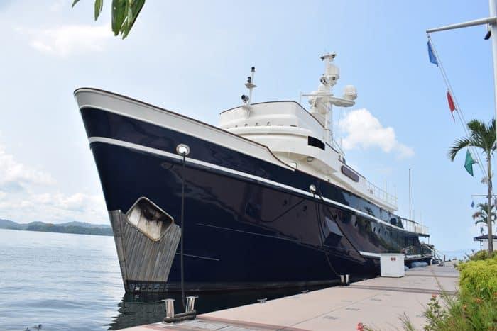 Big yacht docked at the marina.