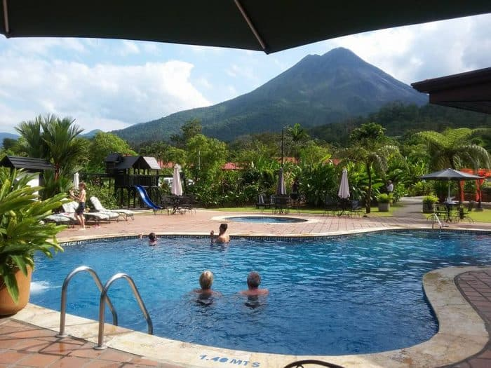 Swimming pool with a view at Volcano Lodge & Springs.