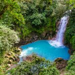 Waterfall at the spectacularly blue Celeste River at Tenorio Volcano National Park in northern Costa Rica.