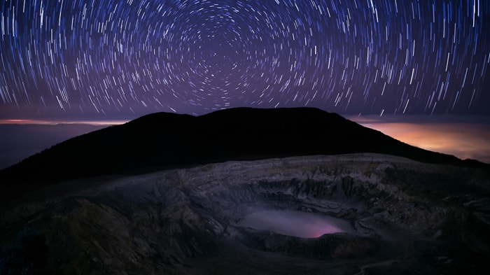 Poás Volcano: Star-trail photograph taken during new moon with special permission.