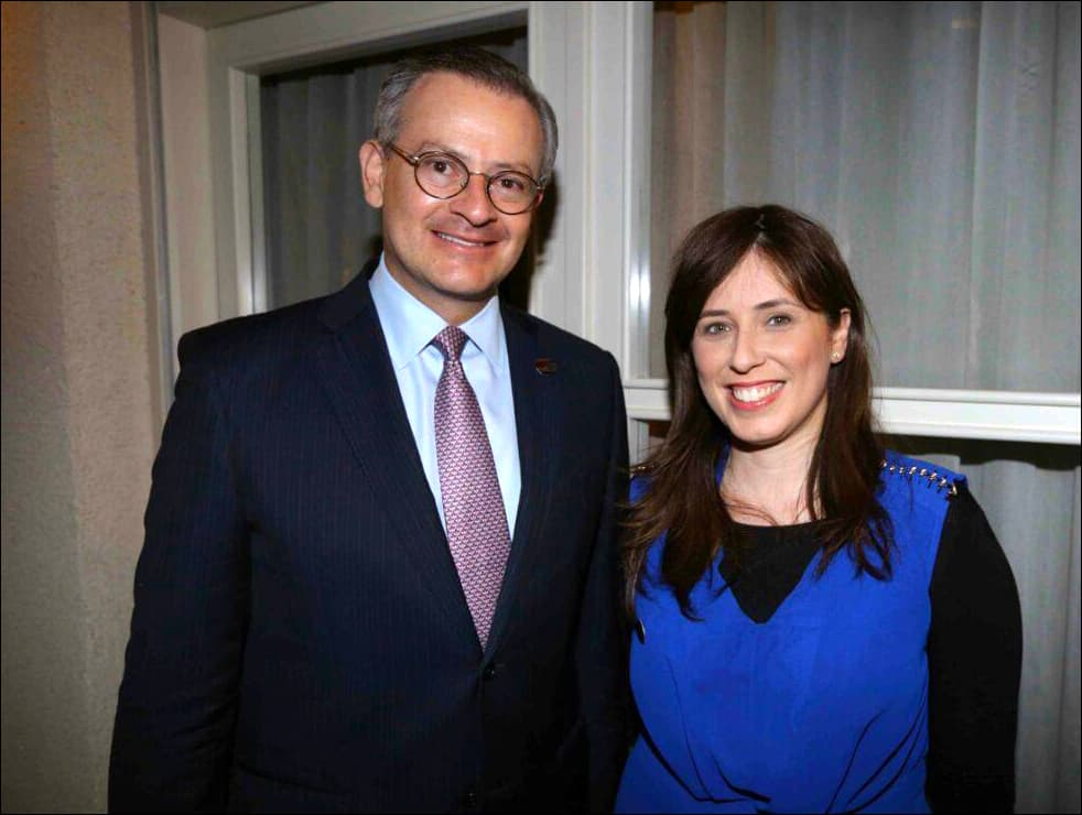 Manuel González Sanz, foreign minister of Costa Rica, meets with Tipi Hotovely, Israel's deputy minister of foreign affairs, at a May 16 reception for González at Tel Aviv's Norman Hotel.