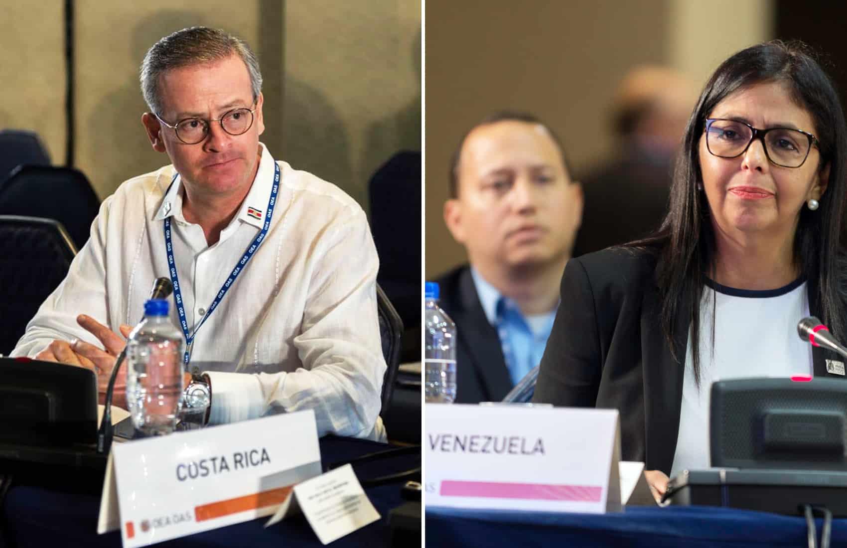 Costa Rica's Foreign Minister Manuel González Sanz, Venezuelan Foreign Affairs Minister Delcy Rodríguez Gómez. OAS Assembly, June 19, 2017.