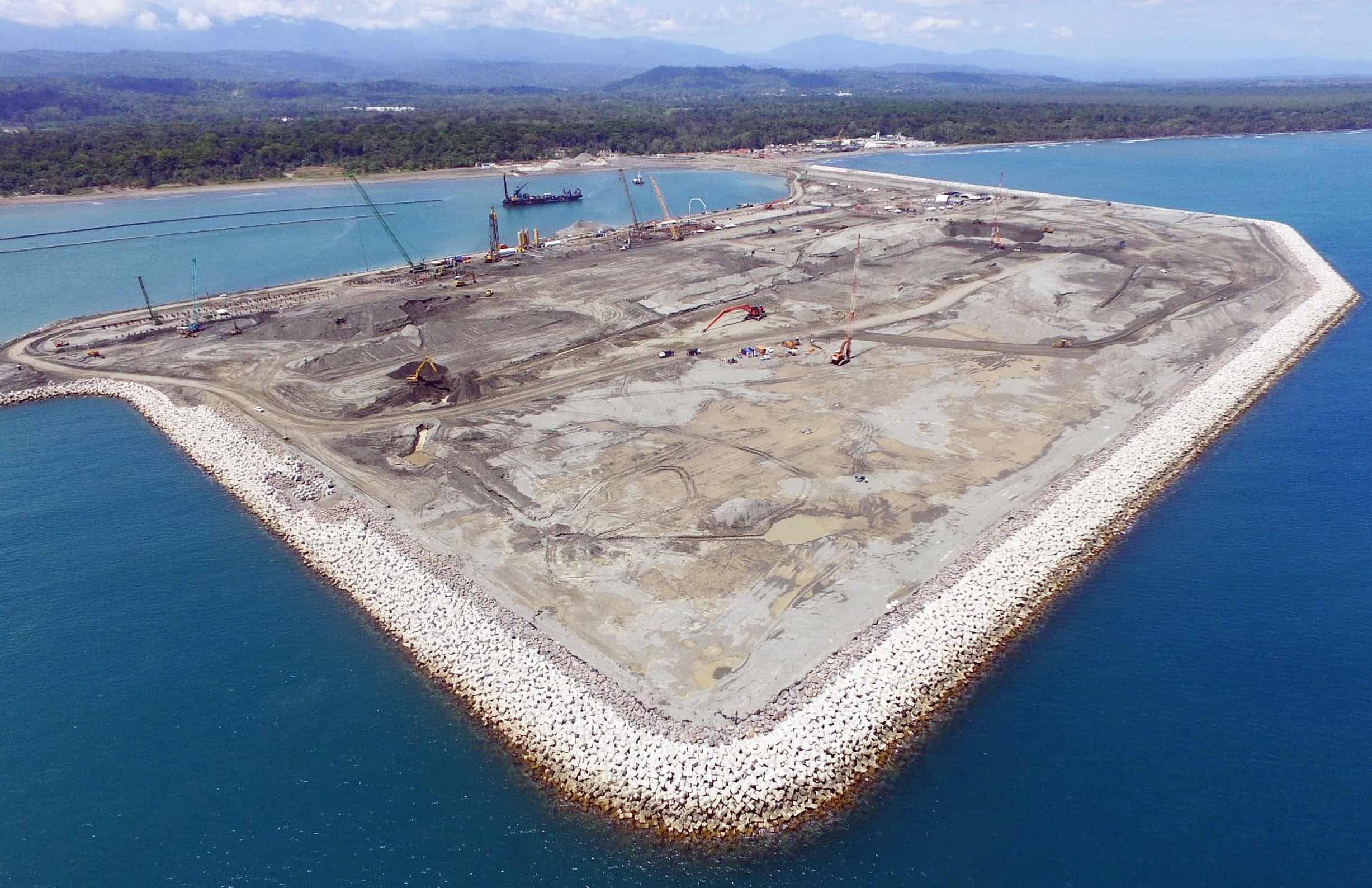 Artificial island at the Moín Container Terminal