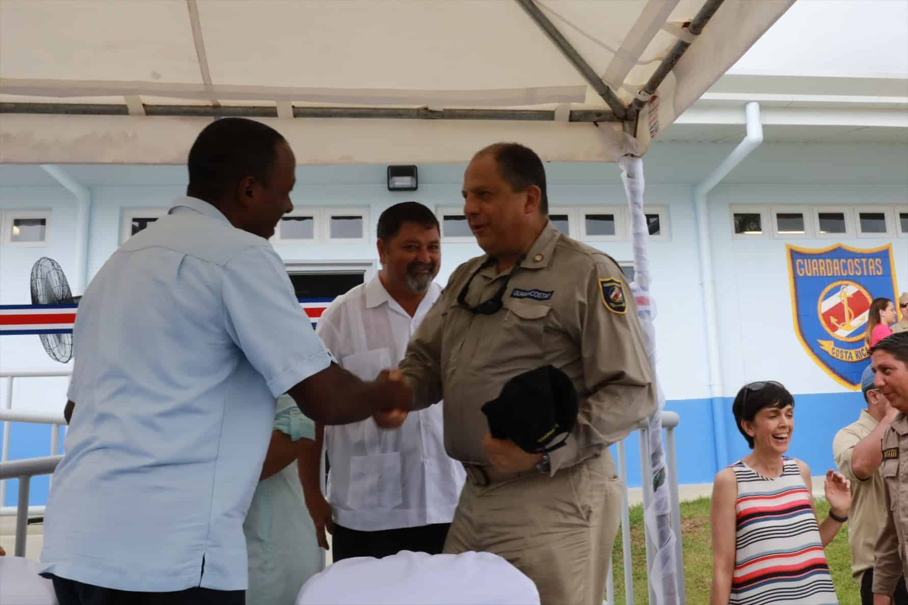 US Ambassador Haney and President Luis Guillermo Solís at the inauguration of the Coast Guard in Golfito.