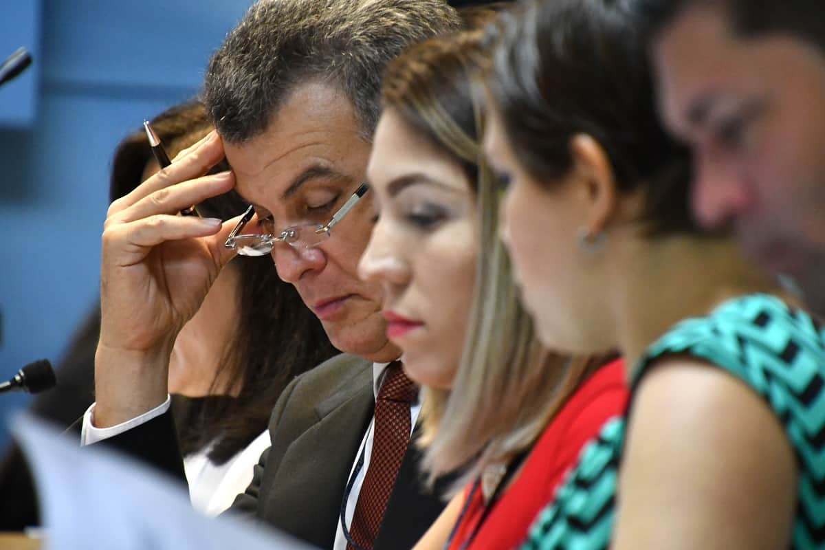 Lawyers at a trial of an alleged organ trafficking ring in San José, Costa Rica.