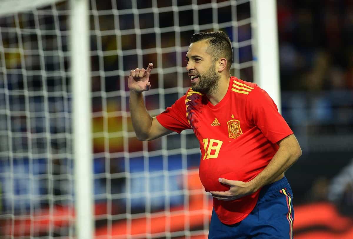 Jordi Alba celebrates after scoring against Costa Rica.