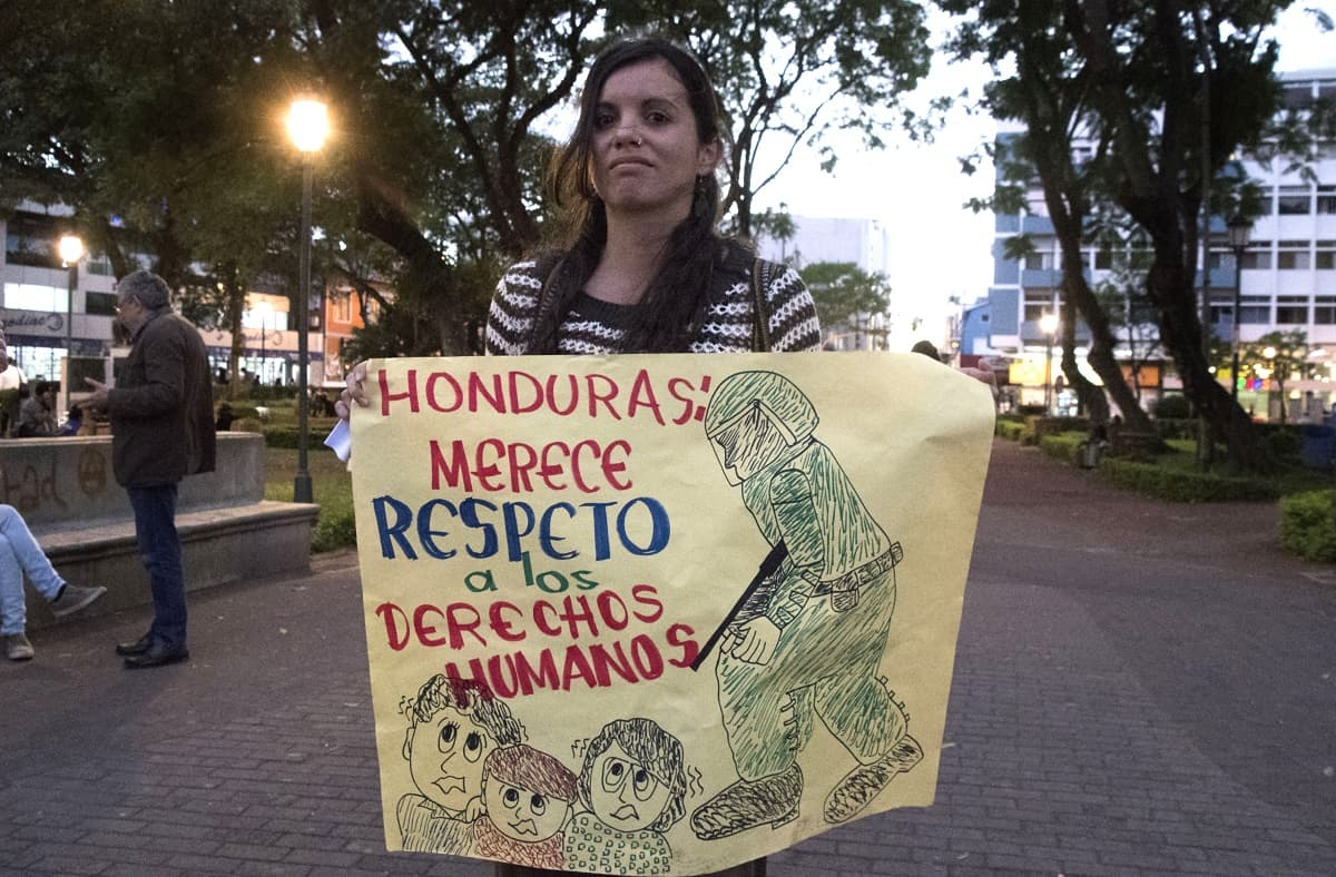 Protesters turn out in San José, Costa Rica to show support for the Honduran opposition on Dec. 20, 2017.