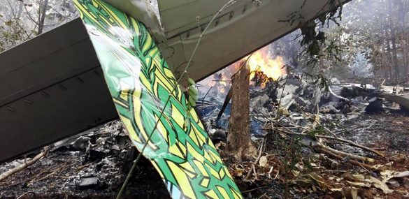 Part of the wreckage of the plane after a crash Dec. 31 in Nandayure, Guanacaste.
