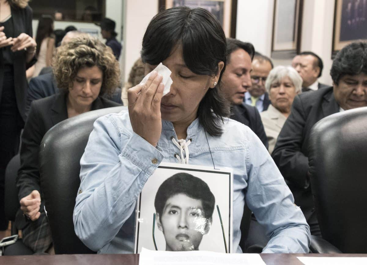 Carmen Condor, the sister of Amaro Condor, a victim of repression during the regime of former Peruvian president Alberto Fujimori (1990-2000), attends a hearing convened by the Inter-American Court of Human Rights in San José, Costa Rica, on Feb. 2, 2018. Rights groups and relatives of victims asked the Inter-American Court of Human Rights Friday to rule against a pardon for former Peruvian president Alberto Fujimori, who was serving a 25-year sentence for human rights abuses. Fujimori, 79, was pardoned by the current Peruvian president, Pedro Pablo Kuczynski, on December 24 on humanitarian grounds because of ill-health.