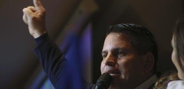 Fabricio Alvarado addresses supporters in Costa Rica on Feb. 4, 2018.