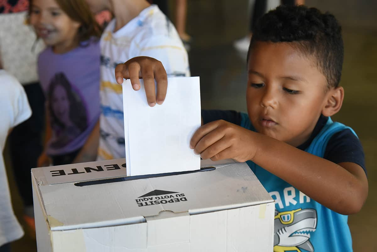 A participant in Costa Rica's Children's Election on Feb. 4, 2018.