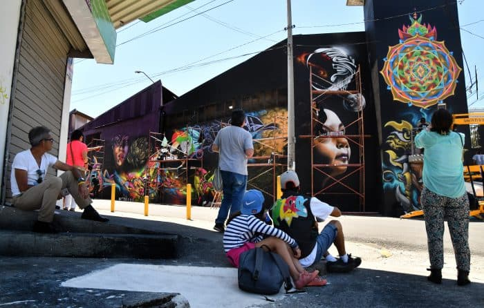Penjoy mural graffiti during the Aliados Festival in San José, Costa Rica, on March 11, 2018.