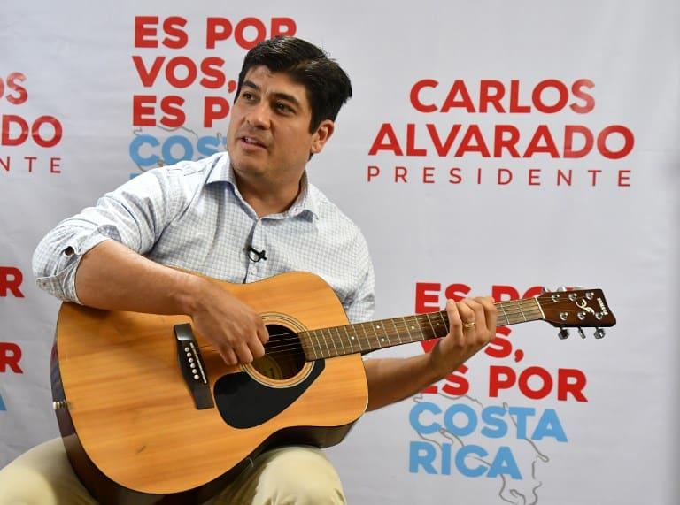 Presidential candidate Carlos Alvarado in San José, Costa Rica.