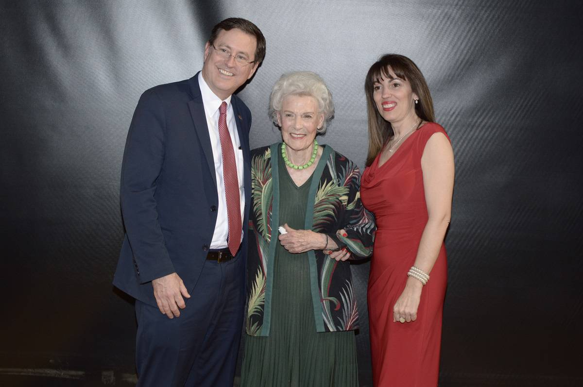 Former Costa Rican First Lady Henrietta Boggs is flanked by Roman Macaya, Costa Rican Ambassador to the United States, and his wife, Thais, at a Washington, DC screening of a film about Boggs' life.