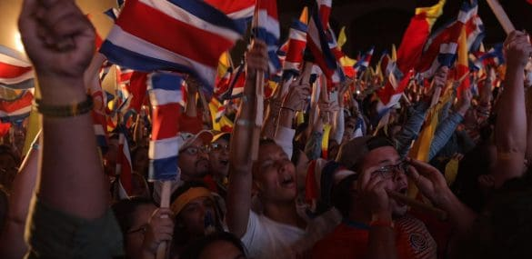 Supporters of Carlos Alvarado celebrate in San Pedro, San José, Costa Rica, on April 1, 2018.