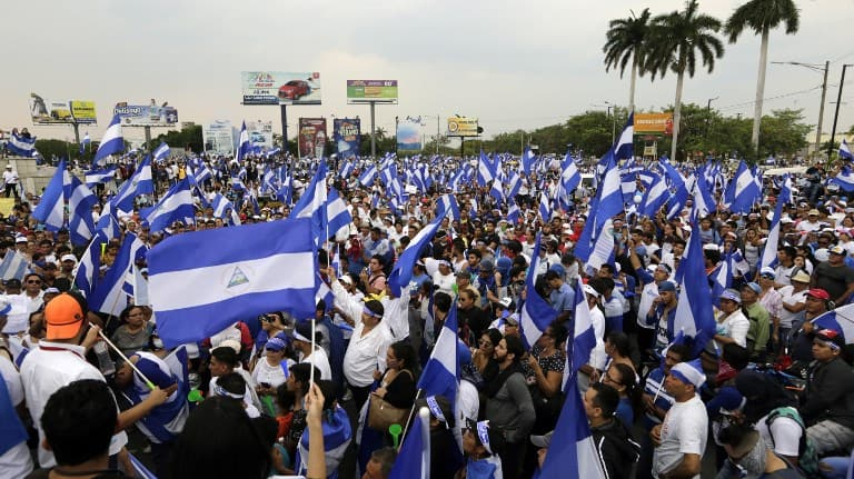 A protest in Nicaragua on May 10, 2018.