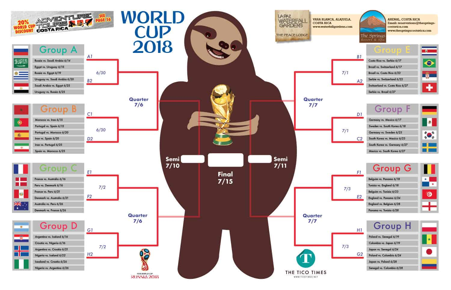 image about World Cup Bracket Printable called Down load printable Sloth Kong Planet Cup brackets The Tico