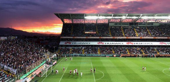 Sunset at Ricardo Saprissa Stadium.