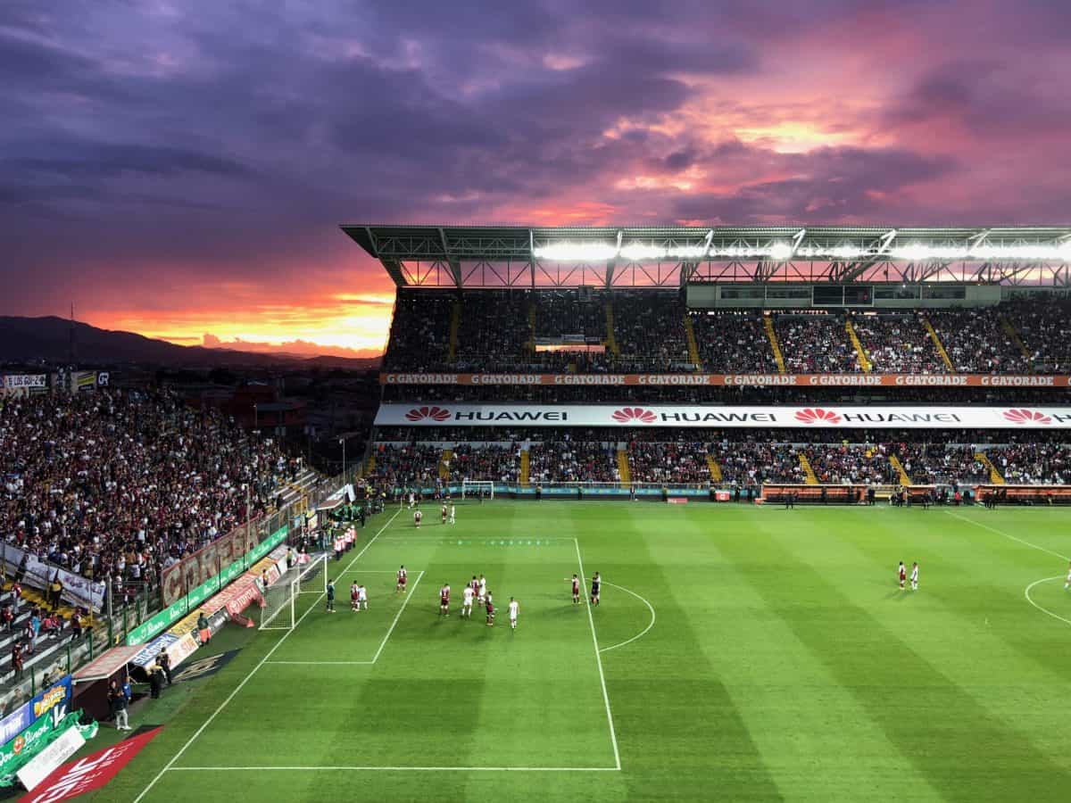 Sunset at Ricardo Saprissa Stadium.