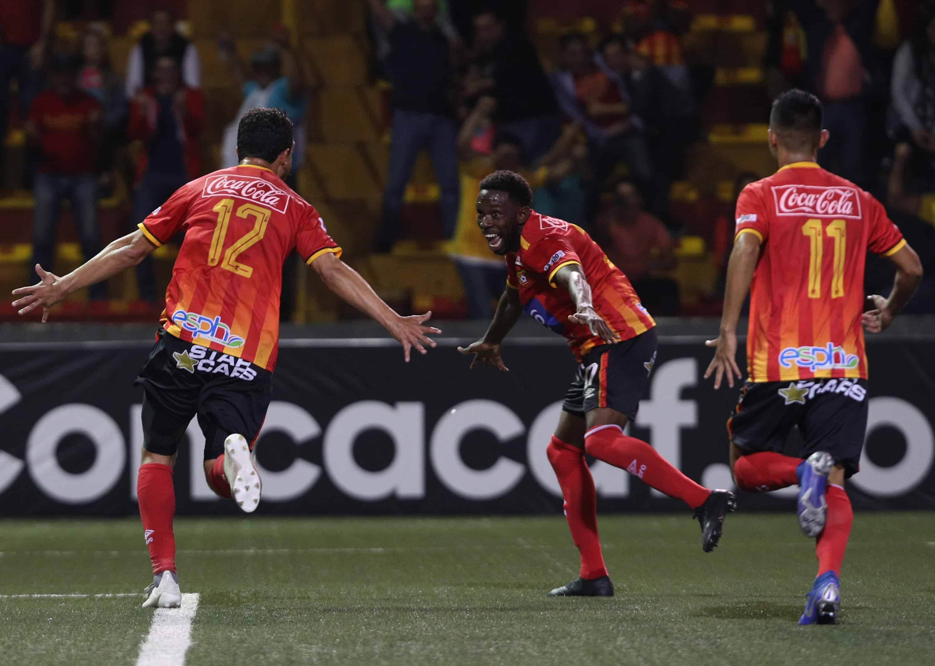 Herediano celebrates following a goal against Atlanta United FC.