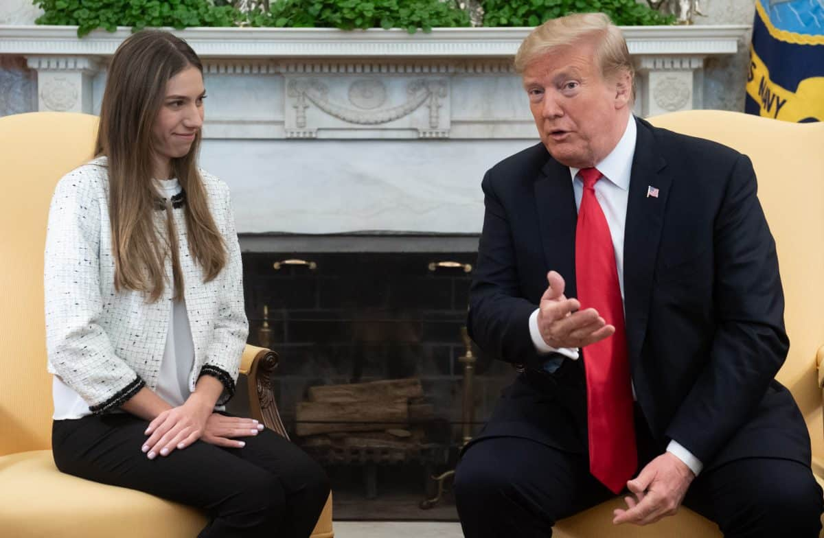 US President Donald Trump meets with Fabiana Rosales de Guaido, wife of Venezuelan opposition leader Juan Guaido, in the Oval Office of the White House in Washington, DC, March 27, 2019.