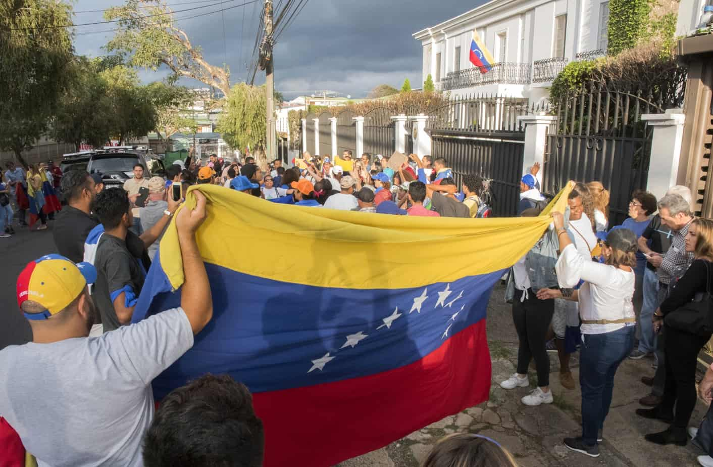 Protest at the Venezuelan Embassy.