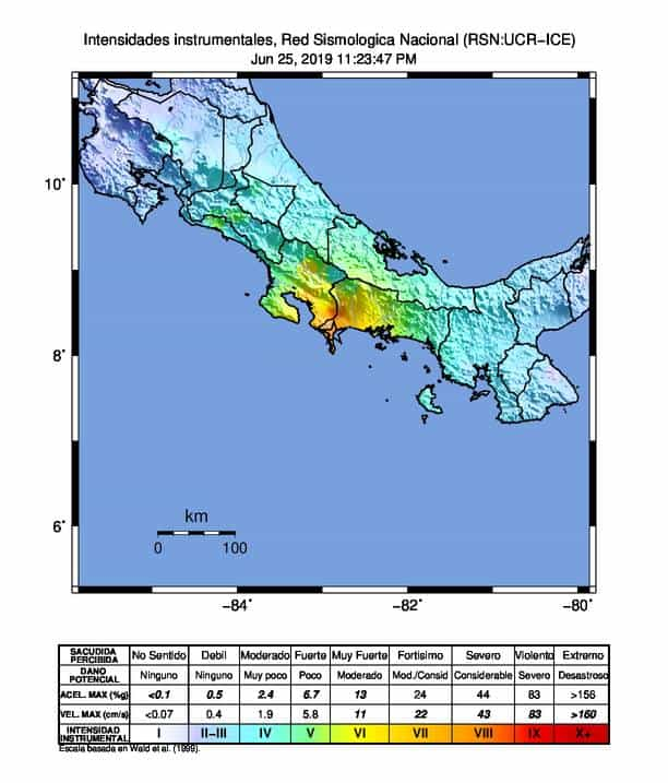 Diagram of Costa Rica earthquake