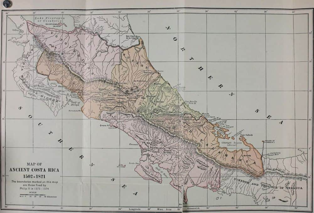 Map of Ancient Costa Rica