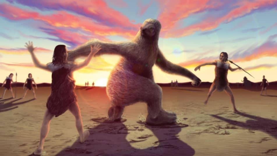 Giant sloth vs humans