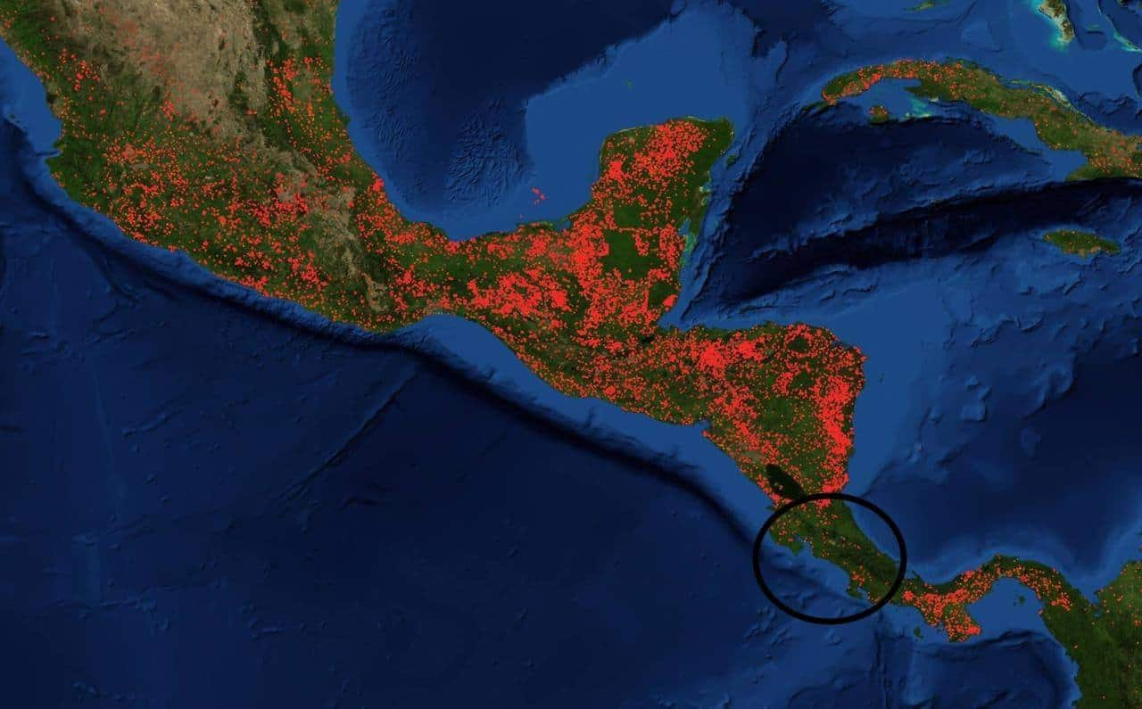 Central America forest fires