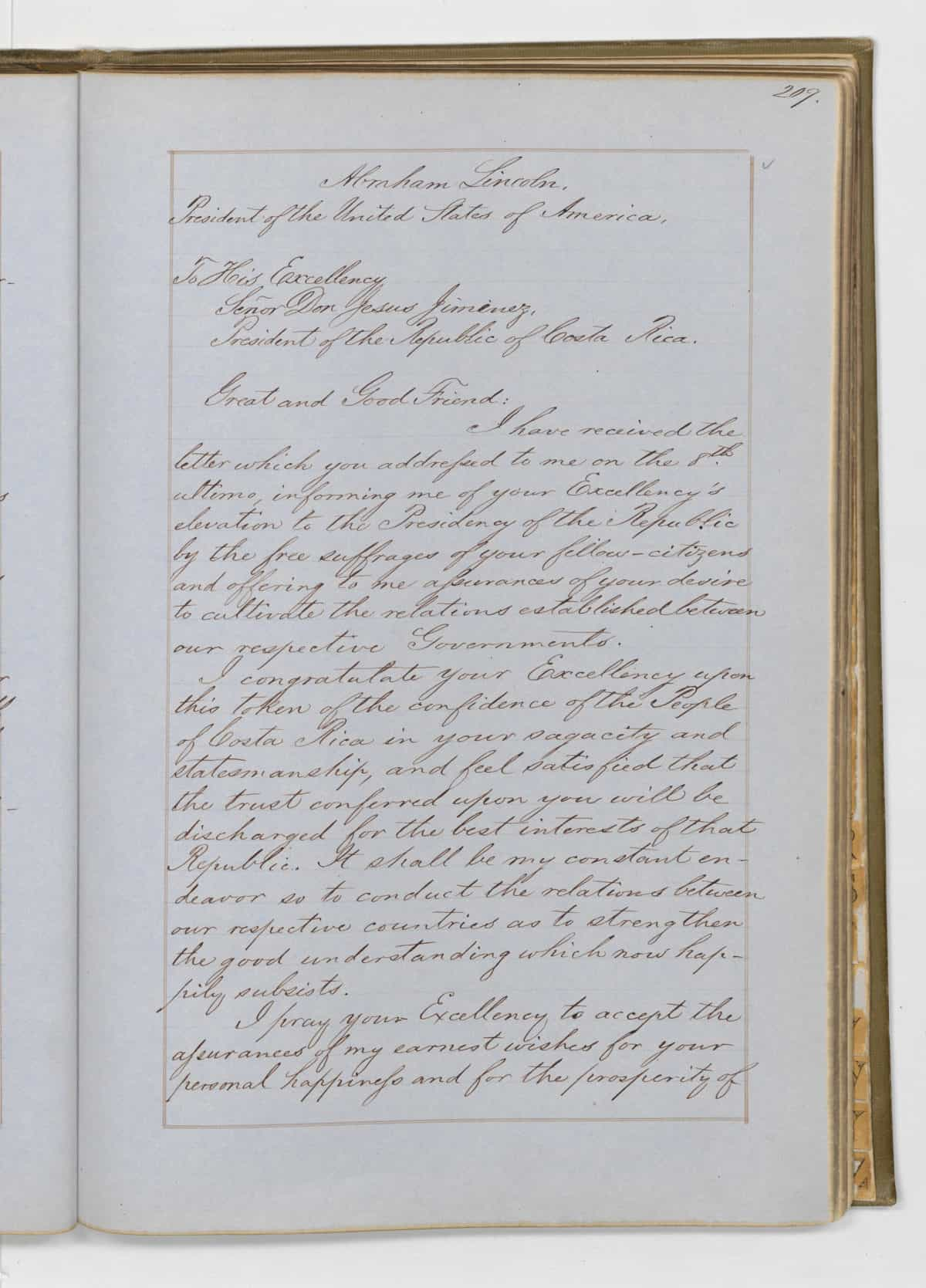 Abraham Lincoln's letter to Costa Rica