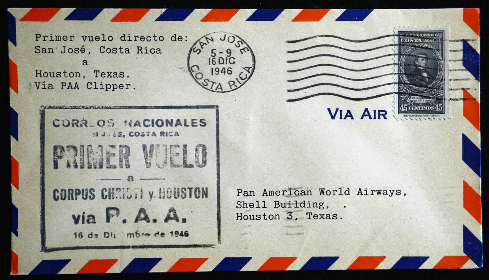 Costa Rica airmail to Texas