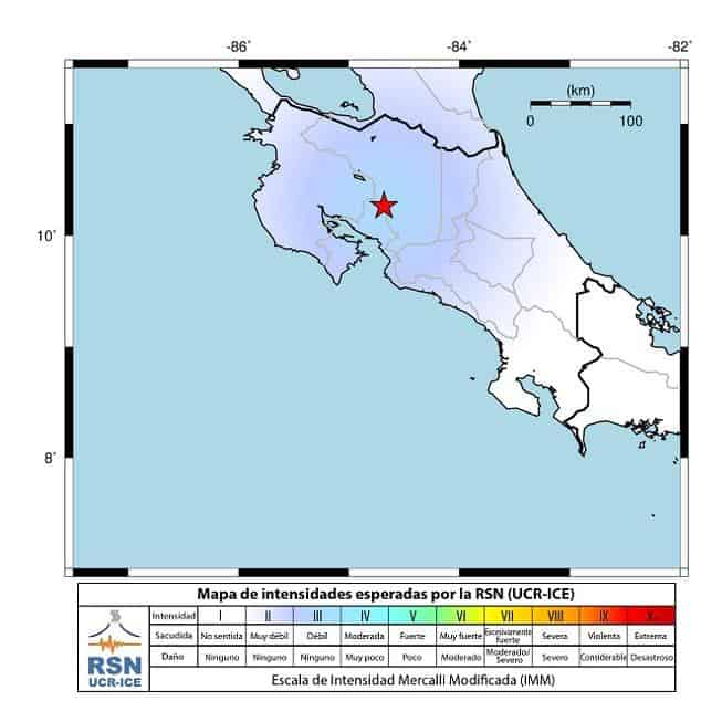 Map showing approximate intensity of Sunday's earthquake in Costa Rica.